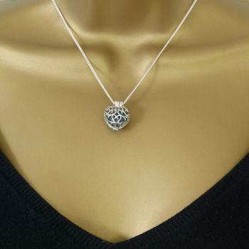 Dark Teal Green Sea Glass Heart Locket Necklace