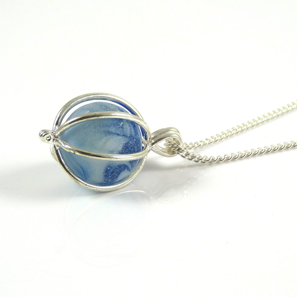Cyan and Cobalt Blue Sea Glass Marble Locket Necklace