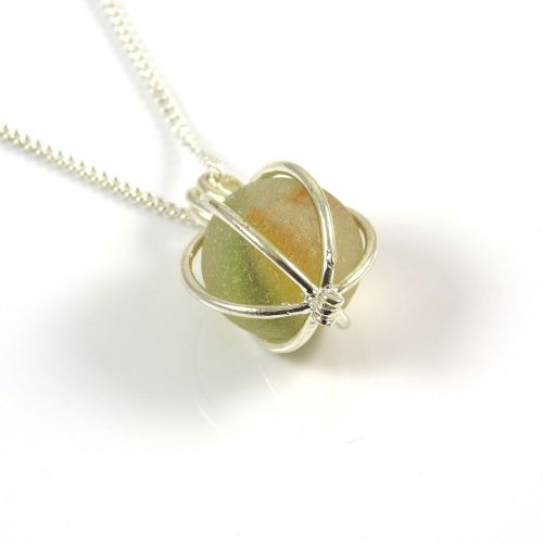 Citron and Sunflower Sea Glass Marble Locket Necklace