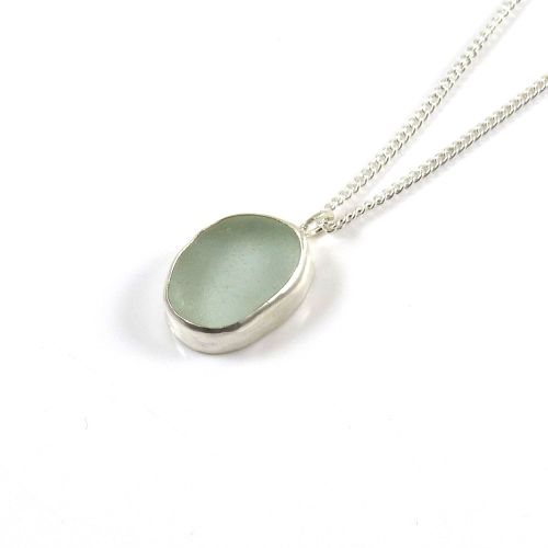 Aqua Sea Glass Pendant Necklace MARGOT