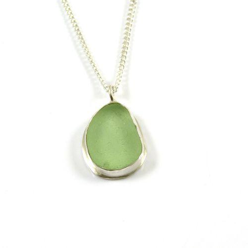Cucumber Sea Glass Pendant Necklace CHLOE