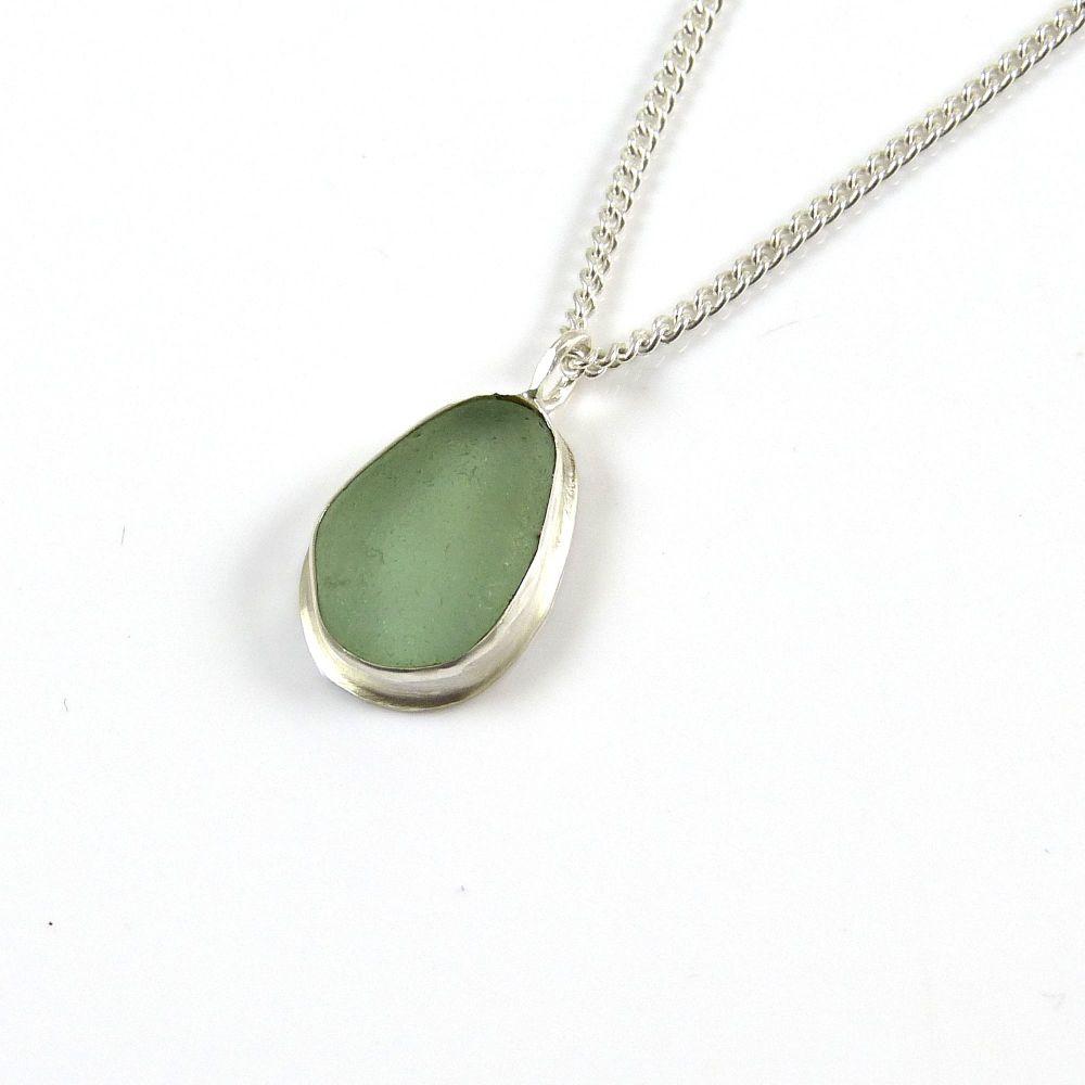 Sea Green Sea Glass Pendant Necklace AMELIE