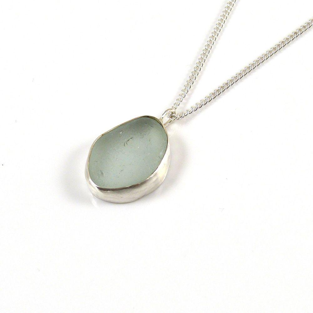 Glacier Blue Sea Glass Pendant Necklace BRIGITTE