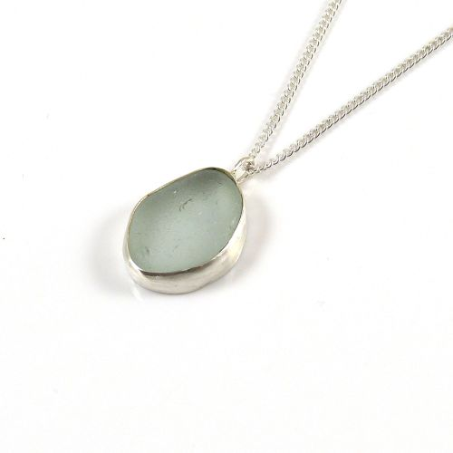 Glacier Blue Sea Glass Pendant Necklace BRIGITTE