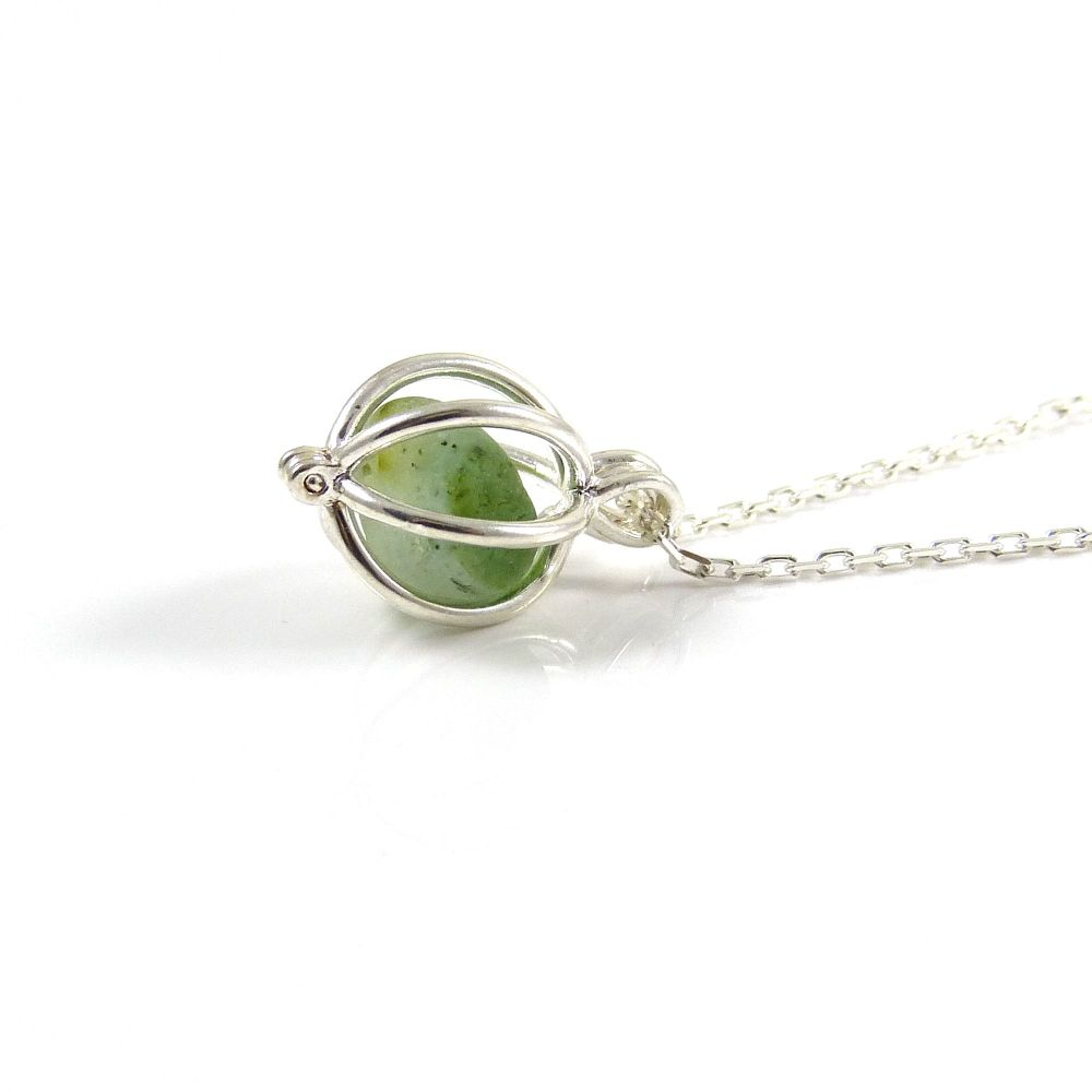 White and Kelly Green Sea Glass in Tiny Round Locket Necklace