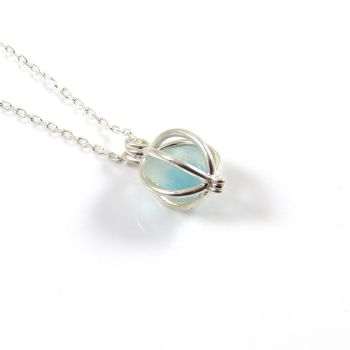 White and Turquoise Sea Glass in Tiny Round Locket Necklace
