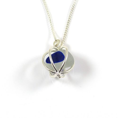 White and Sapphire Sea Glass in Round Locket Necklace