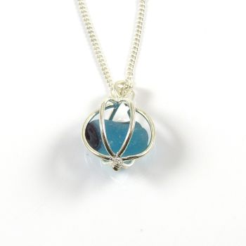Turquoise and Sapphire Sea Glass End of Day Multi in Round Locket Necklace