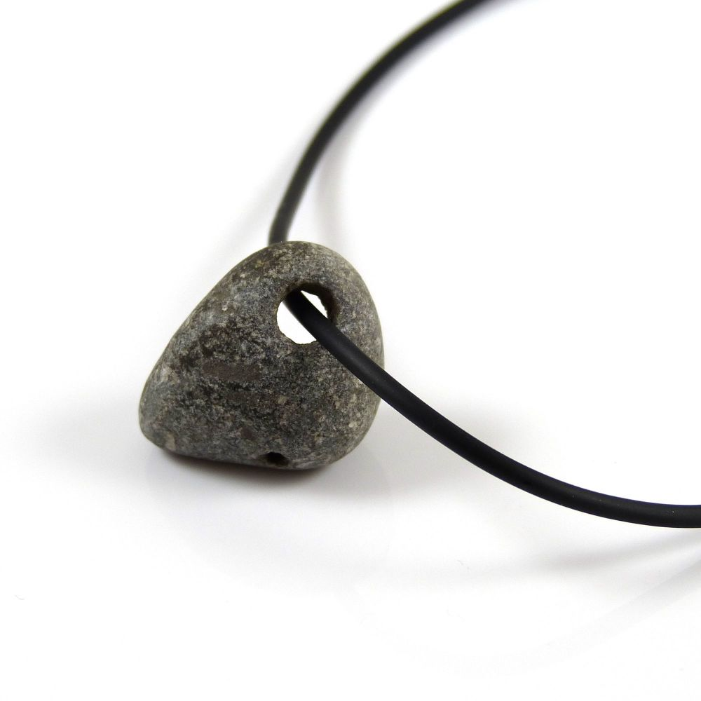 Grey Holey Stone on Rubber and Sterling Silver Necklet