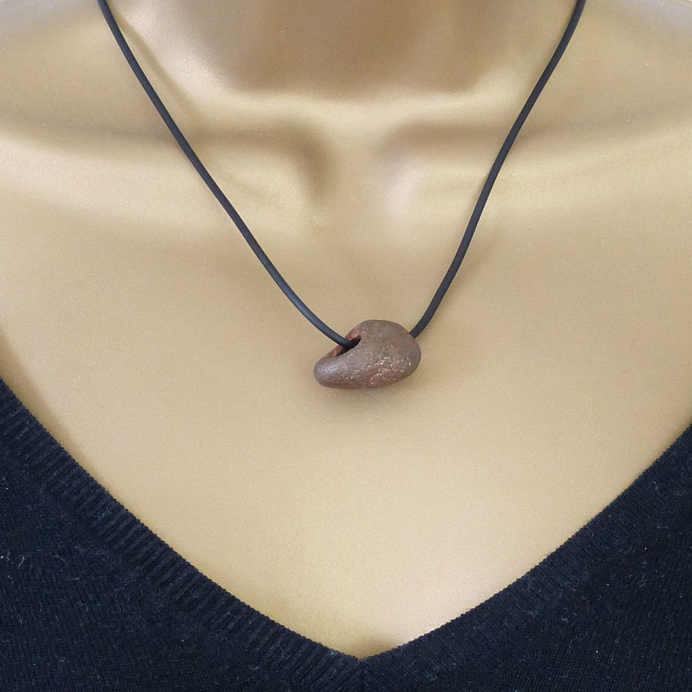 Brown Holey Stone on Rubber and Sterling Silver Necklet