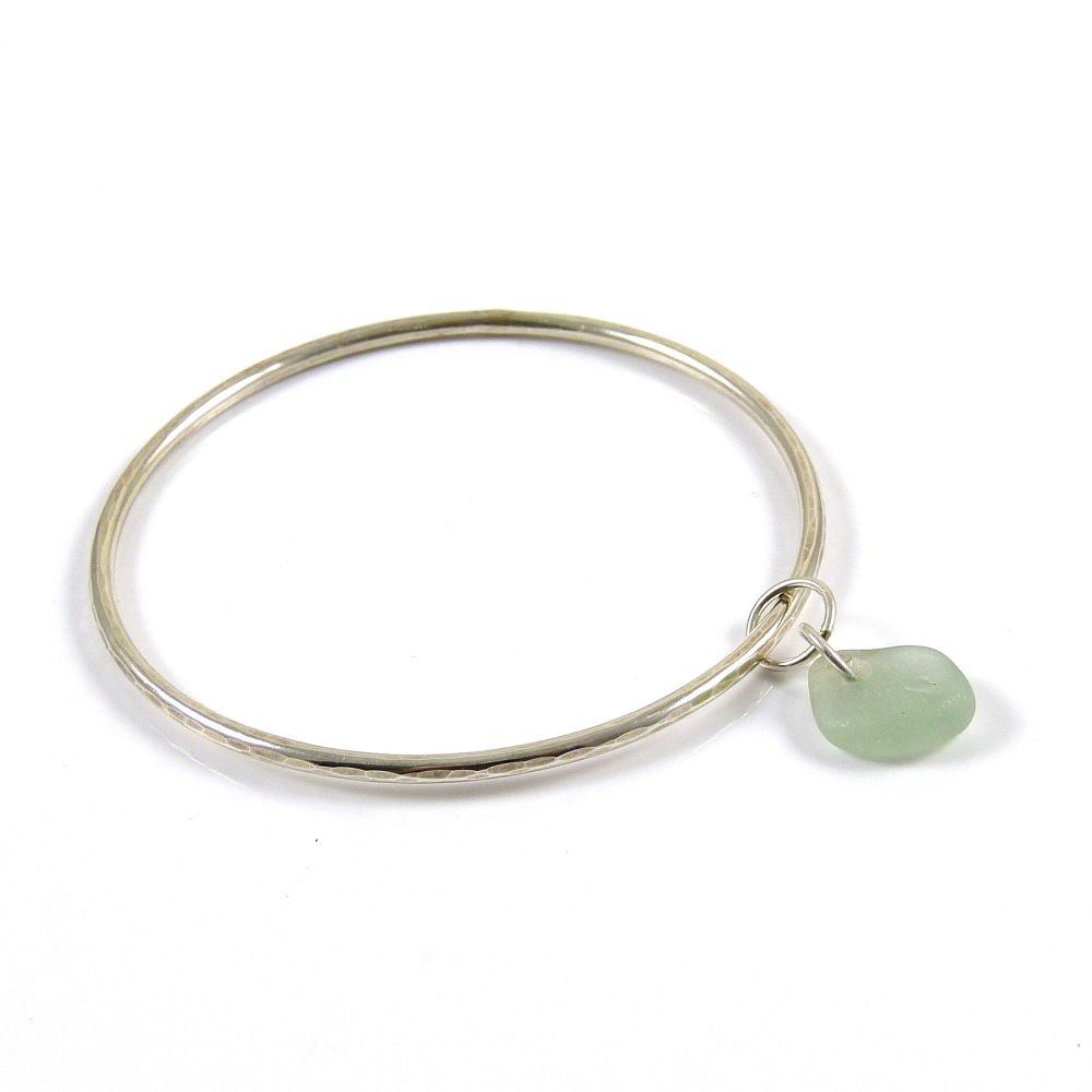 Sterling Silver Hammered Bangle and Light Teal Grey Sea Glass Charm FREE DE