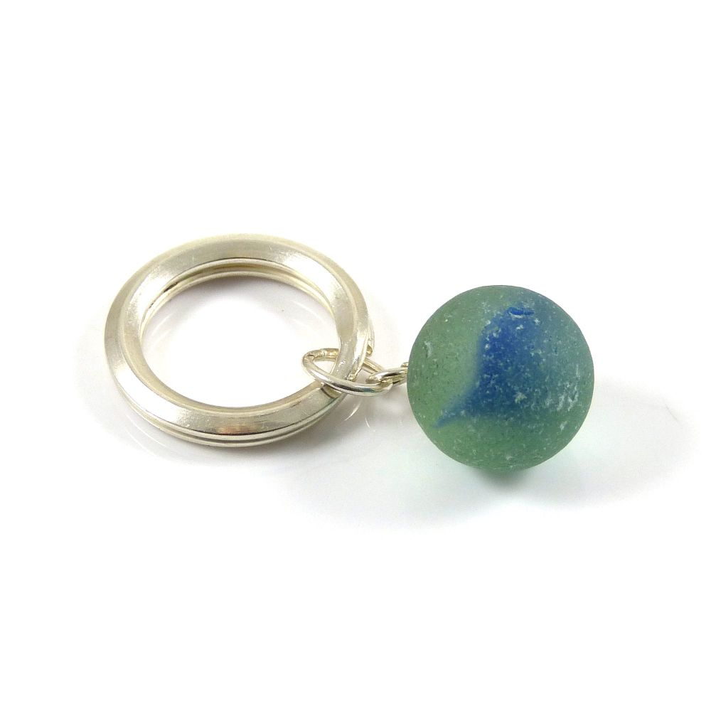 Sterling Silver Key Ring, Lagoon Sea Glass, Beach Accessories, Key Chain, K