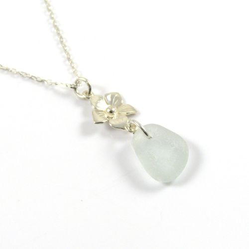 Seaspray Sea Glass and Sterling Silver Flower Drop Necklace