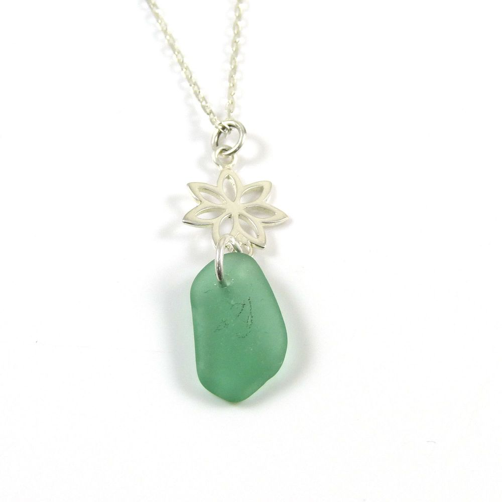 Julep Sea Glass and Sterling Silver Flower Drop Necklace