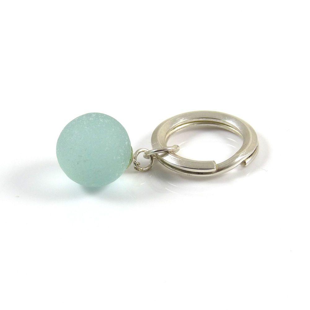 Sterling Silver Key Ring, Aquamarine Sea Glass Marble , Beach Accessories,