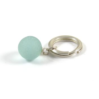 Sterling Silver Key Ring, Aquamarine Sea Glass Marble , Beach Accessories, Key Chain, Keyring, Gift For Him