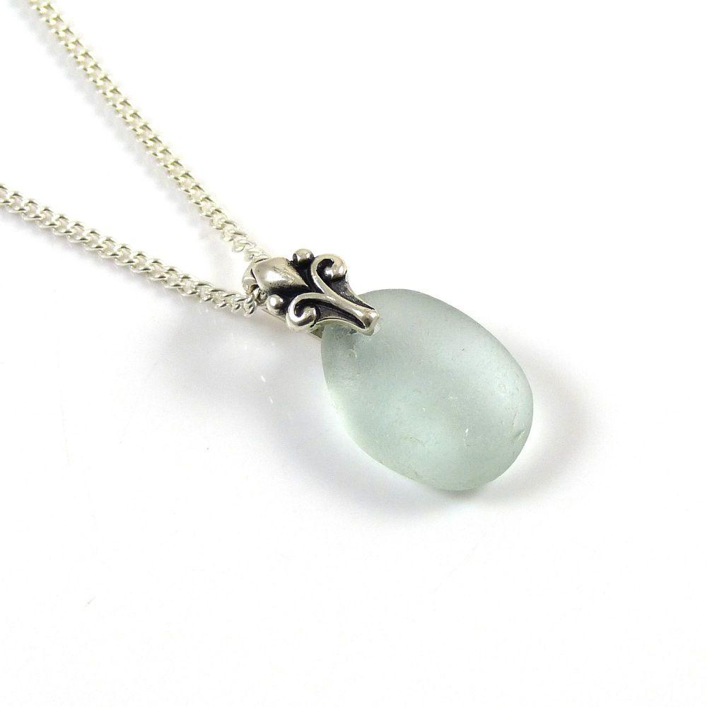 Aqua Blue Sea Glass Necklace, Beach Glass Necklace, Seaglass Pendant, MARIA