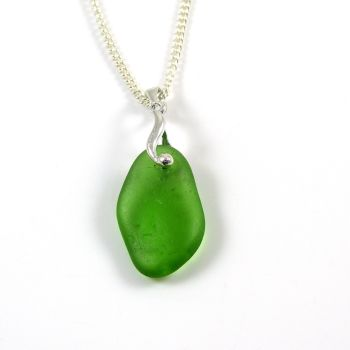 Emerald Green English Sea Glass Necklace EMMELINE