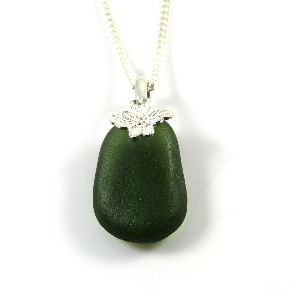 Dark Forest Green English Sea Glass Necklace FABIENNE