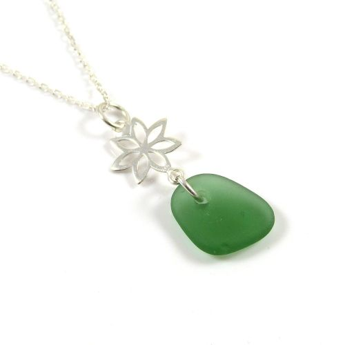 Grass Green Sea Glass and Sterling Silver Flower Drop Necklace