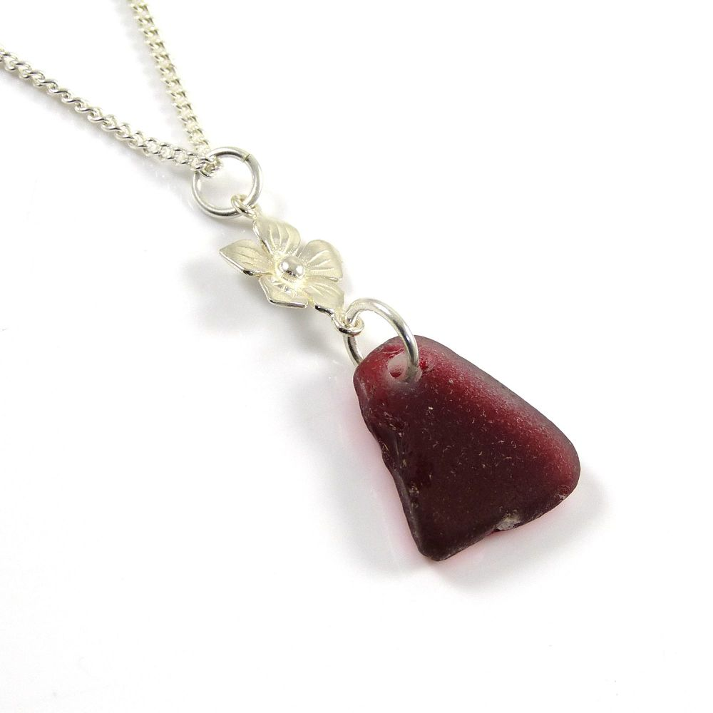 Crimson Red Sea Glass and Sterling Silver Flower Drop Necklace LILOU