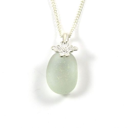 Seafoam Blue English Sea Glass Necklace ESME
