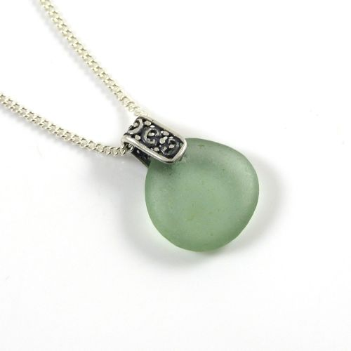 Dark Teal Grey Sea Glass And Silver Filigree Pendant Necklace - LEONIE