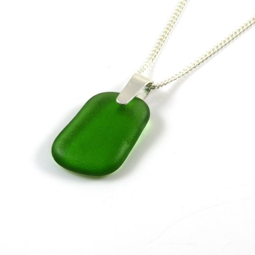 Emerald Green Sea Glass and Silver Necklace KIRSTY