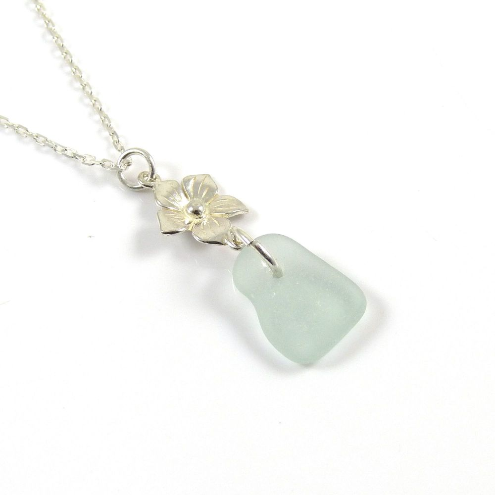Seafoam Blue Sea Glass and Sterling Silver Flower Drop Necklace