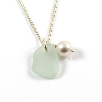 Seafoam Blue Sea Glass, Swarovski Pearl, Sterling Silver Chain c235