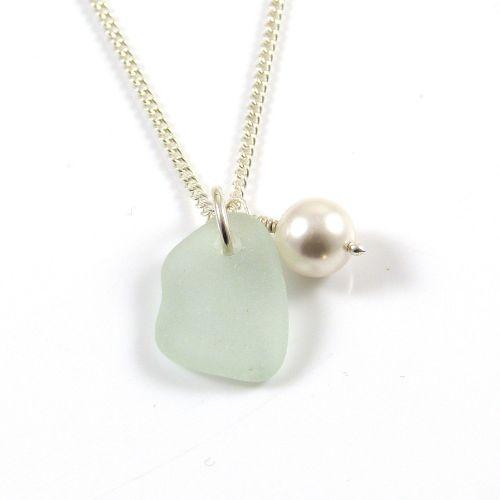 Seafoam Blue Sea Glass, Swarovski Pearl, Sterling Silver Chain