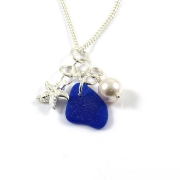 Cobalt Blue Sea Glass, Sterling Silver Starfish and Swarovski Crystal Pearl Necklace