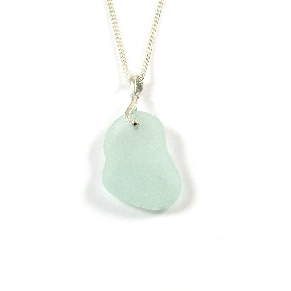 Pale Aquamarine English Sea Glass Necklace LUCIENNE