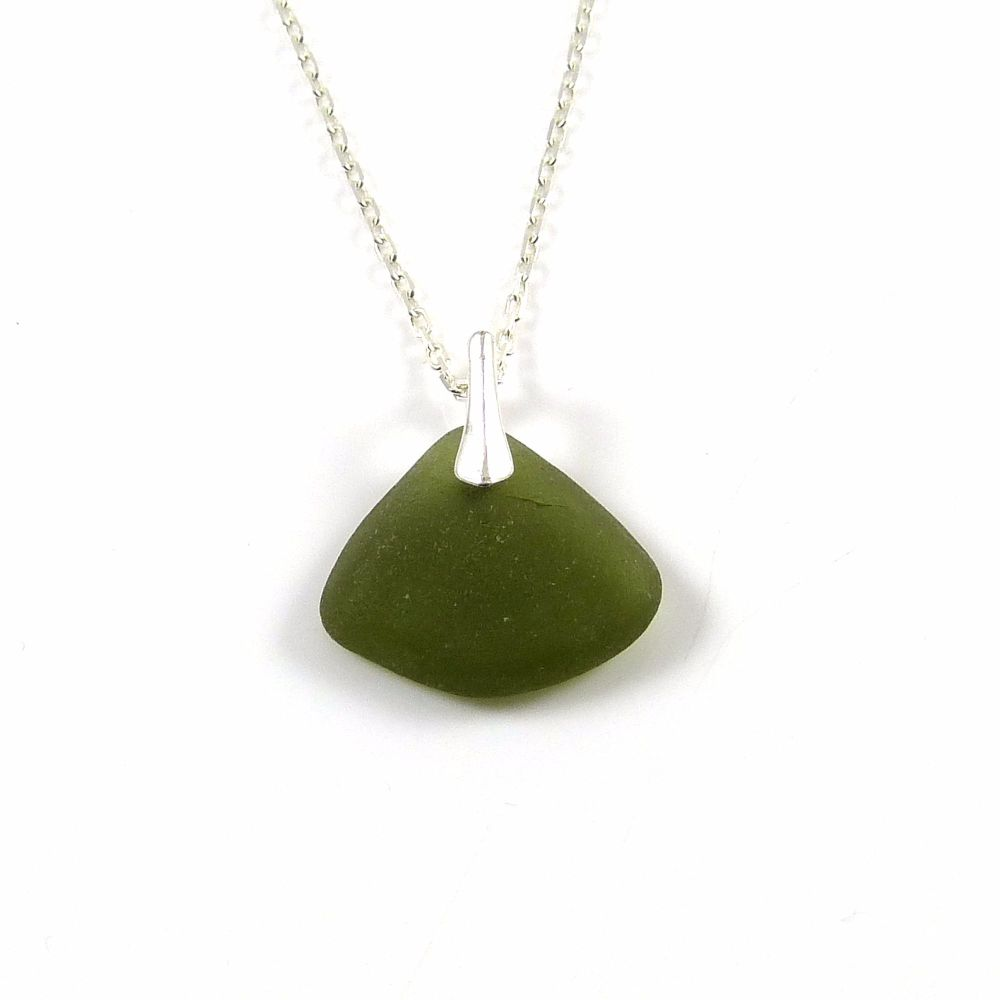 Olive Green Sea Glass and Silver Necklace ELOISE