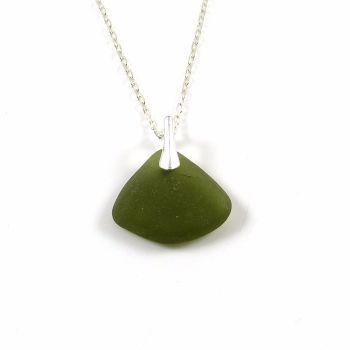 Green Sea Glass and Silver Necklace ELOISE