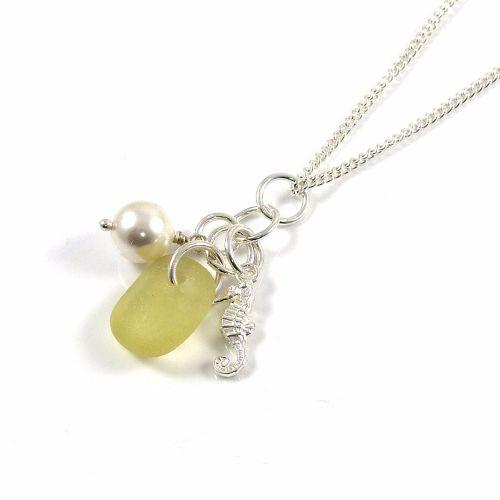 Pale Lemon Yellow Sea Glass, Sterling Silver Seahorse and Swarovski Crystal