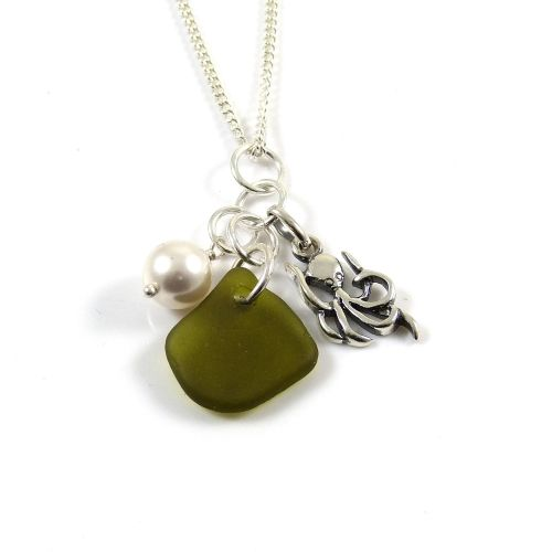 Olive Green Sea Glass, Sterling Silver Octopus and Swarovski Crystal Pearl