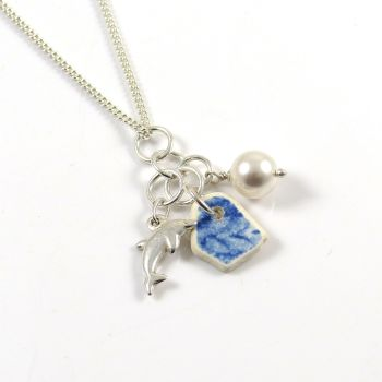 Blue and White Beach Pottery, Sterling Silver Dolphin Charm, Swarovski Crystal Pearl