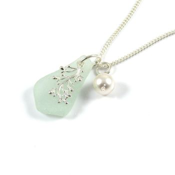 Seafoam Sea Glass and Silver Coral Charm Necklace LILLIANE