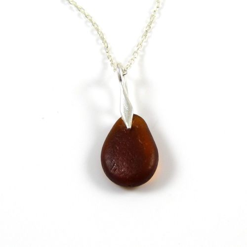 Dark Amber Sea Glass and Silver Necklace DANY