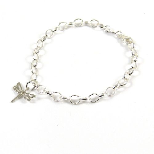 Sterling Silver Bracelet with Silver Dragonfly Charm