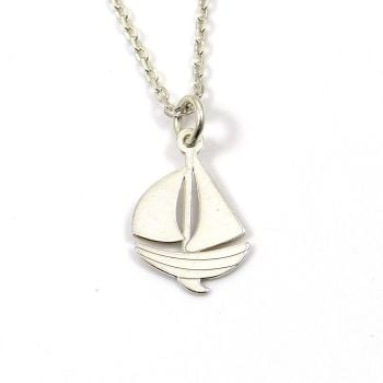 Sterling Silver Boat Necklace - Simple - Dainty - Minimalist