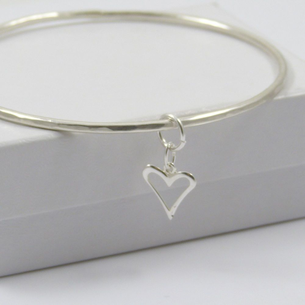 Sterling Silver Hammered Bangle with Heart Charm