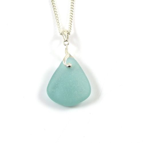 Reef Blue Sea Glass and Silver Necklace ADRIENNE
