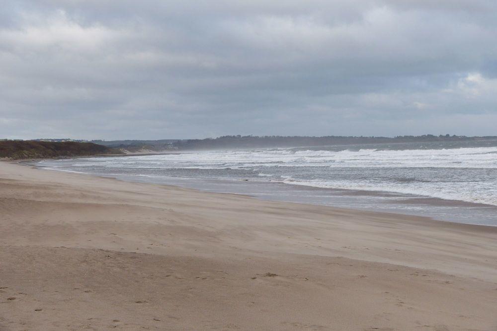 20171112 Warkworth Beach heading north in north wind