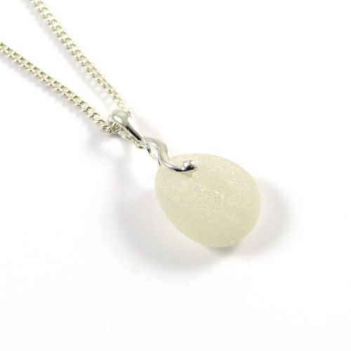 Snow White Sea Glass and Silver Necklace JULIET
