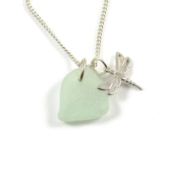 Seafoam Sea Glass, Sterling Silver Dragonfly Necklace