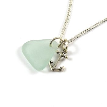 Seafoam Sea Glass and Silver Anchor Charm Necklace