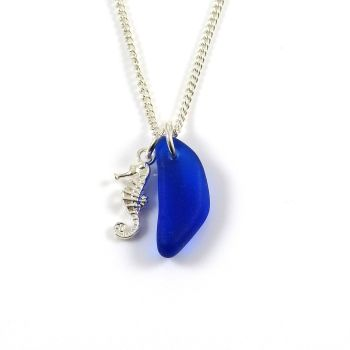 Cobalt Blue Sea Glass and Sterling Silver Seahorse Charm Necklace