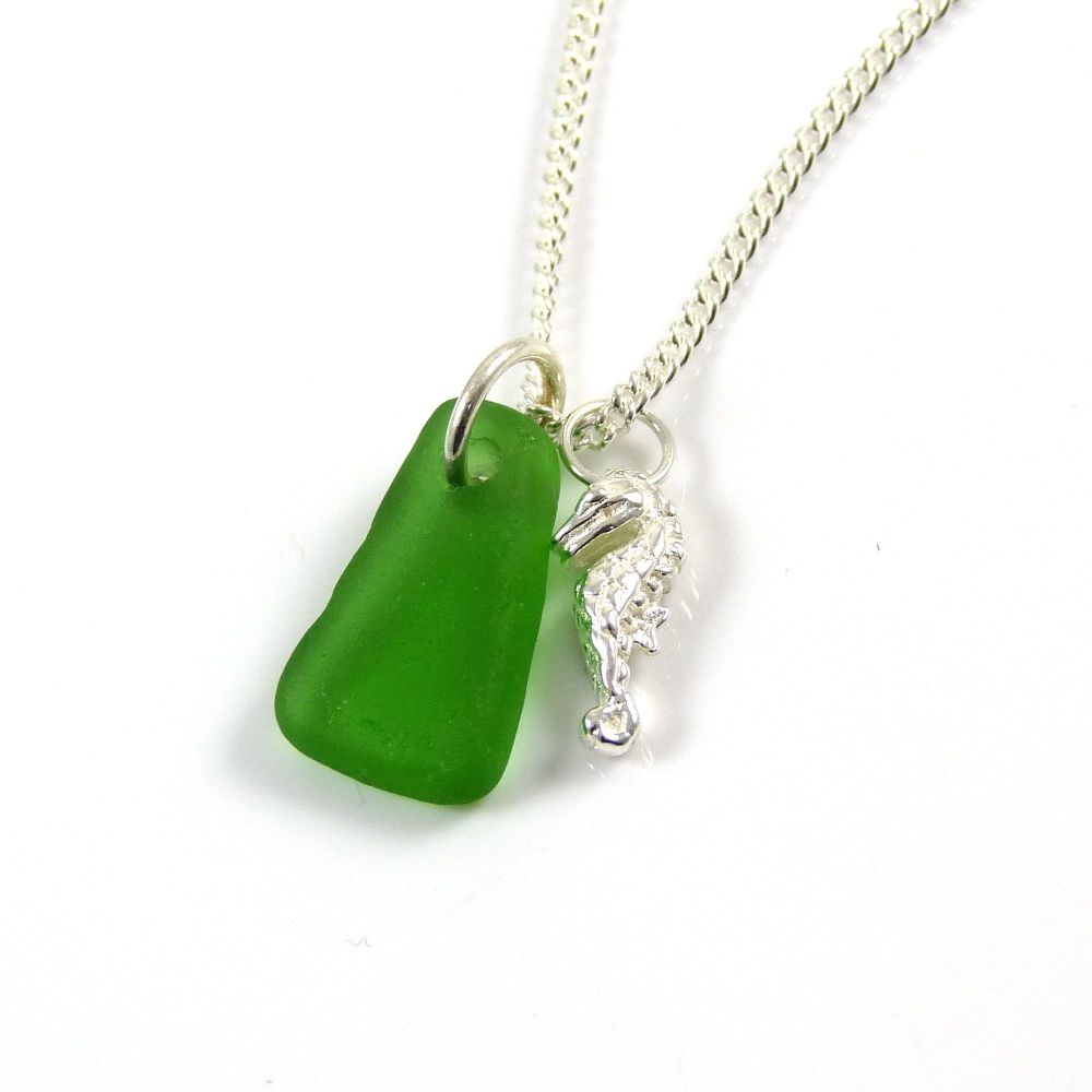Emerald Green Sea Glass and Sterling Silver Seahorse Charm Necklace